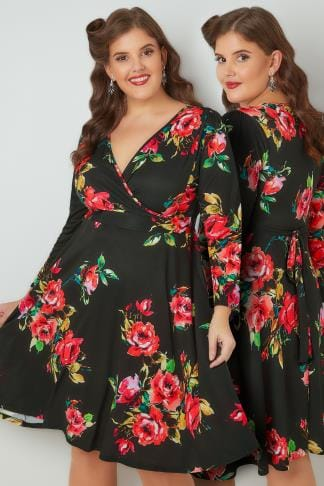 Midi Dresses LADY VOLUPTUOUS Black & Red Lyra Floral Print Dress 138734