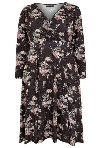 Midikleider LADY VOLUPTUOUS Black & Multi Lyra Watercolour Floral & Butterfly Print Dress 138741