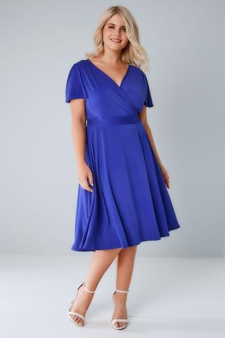 Midi Dresses LADY VOLUPTUOUS Blue Lyra Wrap Dress 138649