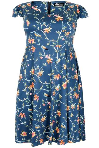 LADY VOLUPTUOUS Blue Tropical Floral & Bird Print Dress 138937