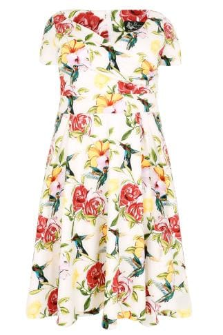 LADY VOLUPTUOUS Ivory & Multi Floral Hummingbird Ursula Dress