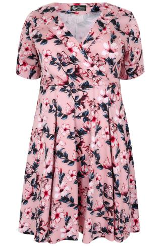 LADY VOLUPTUOUS Pink Butterfly Print Roxy Dress 138936