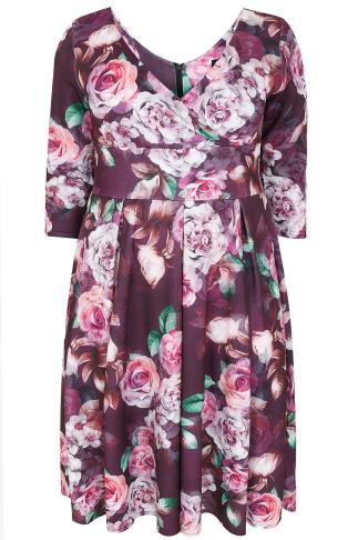 LADY VOLUPTUOUS Purple Rose Print Marcella Dress