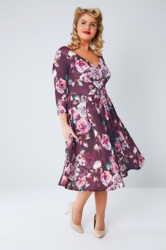 Party Dresses LADY VOLUPTUOUS Purple Rose Print Marcella Dress 138938