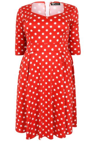 LADY VOLUPTUOUS Red & While Polka Dot Medusa Dress 138394