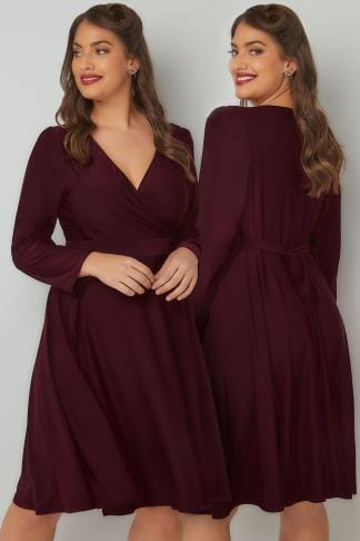 Sleeved Dresses LADY VOLUPTUOUS Wine Lyra Dress 138740