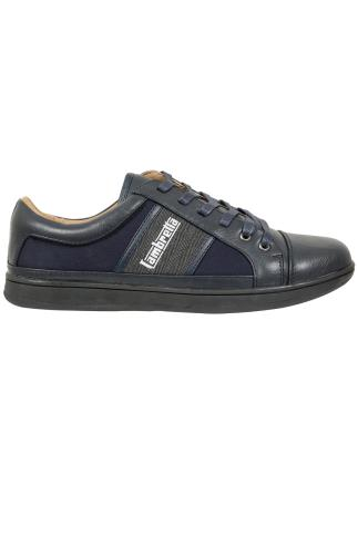 Trainers & Plimsolls  LAMBRETTA Navy & Grey Lace Up Trainer 102117