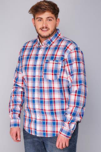 Casual Shirts LAMBRETTA Red, Blue & White Checked Driftwood Shirt 101860
