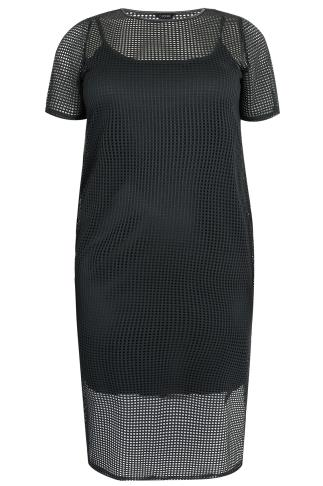 LIMITED COLLECTION Black Fishnet Mesh Midi Dress With Side Splits