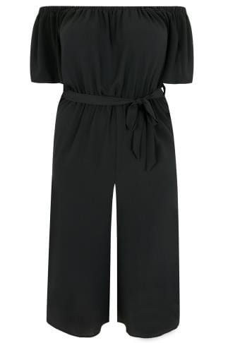 LIMITED COLLECTION Black Bardot Culotte Jumpsuit With Waist Tie