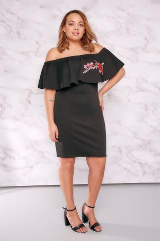 LIMITED COLLECTION Black Bardot Dress With Embroidered Frill Panel 210014