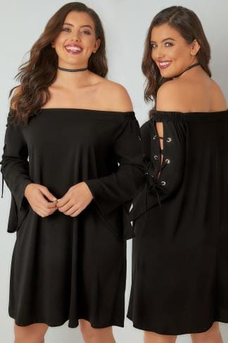 Noires LIMITED COLLECTION Black Bardot Dress With Eyelet Lace-Up Detail Sleeves 210242