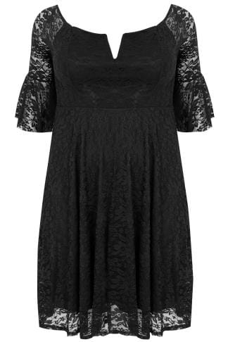 LIMITED COLLECTION Black Bardot Lace Dress With Flute Sleeves