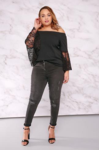 Bardot & Cold Shoulder Tops LIMITED COLLECTION Black Bardot Top With Lace Flute Sleeves 210002