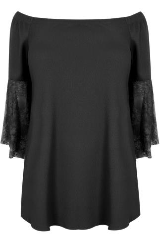 LIMITED COLLECTION Black Bardot Top With Lace Flute Sleeves