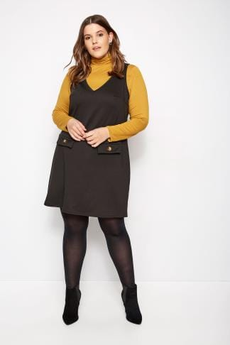 Plus Size Limited Collection Black Button Pinafore Dress Sizes 16