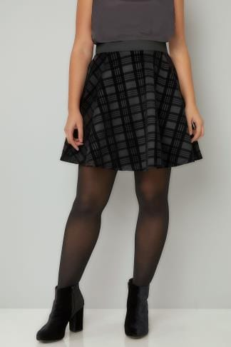 Skater Skirts LIMITED COLLECTION Black Checked Mini Skater Skirt 210265