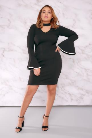 LIMITED COLLECTION Black Choker Neck Mini Dress With Flute Sleeves 210010