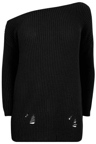 LIMITED COLLECTION Black Chunky Knit Asymmetric Jumper