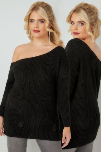 Jumpers LIMITED COLLECTION Black Chunky Knit Asymmetric Jumper 210224