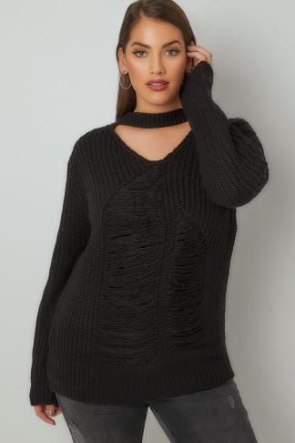 Jumpers LIMITED COLLECTION Black Chunky Knitted Distressed Jumper With Choker Neck 210193
