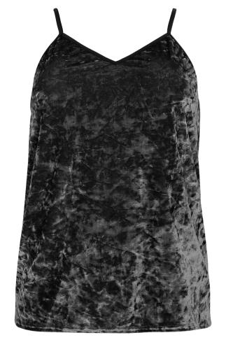 LIMITED COLLECTION Black Crushed Velvet Cami Top