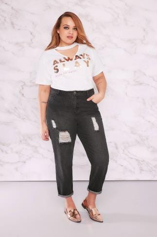 Boyfriend & Slouch Jeans LIMITED COLLECTION Black Distressed Mom Jeans 210052