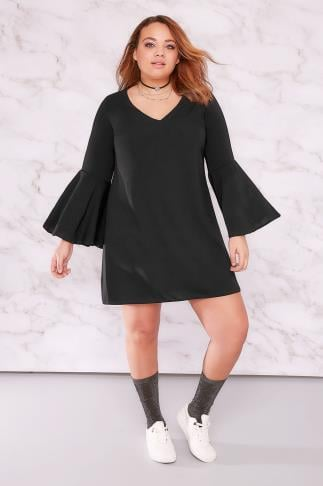 Party Dresses LIMITED COLLECTION Black Tunic Dress With Trumpet Sleeves 210029