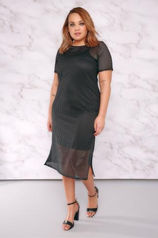 Black Dresses LIMITED COLLECTION Black Fishnet Mesh Midi Dress With Side Splits 210007