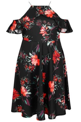 LIMITED COLLECTION Black Floral Print Cold Shoulder Dress With High Neck Frill