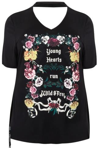 LIMITED COLLECTION Black Floral & Slogan Print Jersey Top With Choker Neck