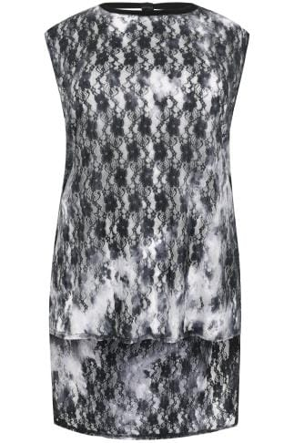 LIMITED COLLECTION Black & Grey Ombre Lace Top With Strap Back With Dip Hem