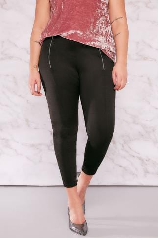 Jeggins LIMITED COLLECTION Black Jeggings With Double Zip Detail 210097