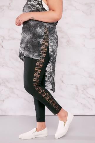 Fashion Leggings LIMITED COLLECTION Black Leggings With Lace Panels 210120