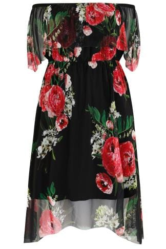 LIMITED COLLECTION Black & Multi Bardot Dress With Floral Mesh Overlay