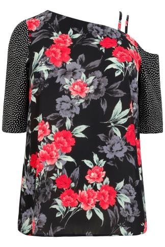 LIMITED COLLECTION Black & Multi Floral & Dotty Print One Shoulder Top