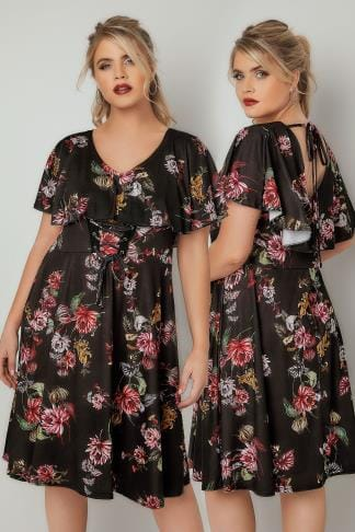 Skater Dresses LIMITED COLLECTION Black & Multi Floral Skater Dress With Frill Panel & Lace Up Front 210269
