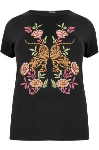 LIMITED COLLECTION Black & Multi Tiger Print T-Shirt With Slashed Back
