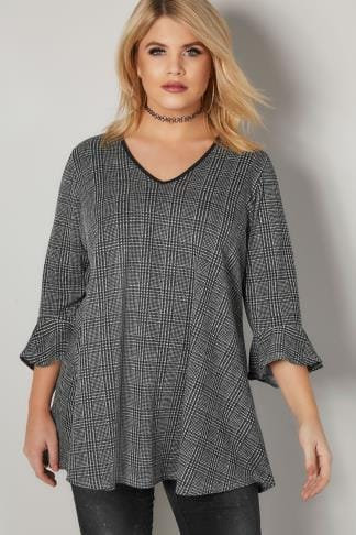 Jersey Tops LIMITED COLLECTION Black Oversized Checked Top With Flute Sleeves 210340
