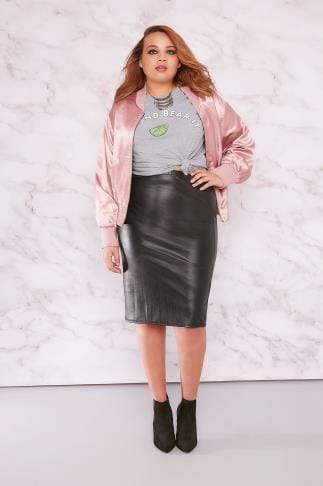 Pencil Skirts LIMITED COLLECTION Black PU Midi Pencil Skirt 210095
