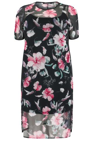 LIMITED COLLECTION Black & Pink Floral Mesh Midi Dress With Side Splits