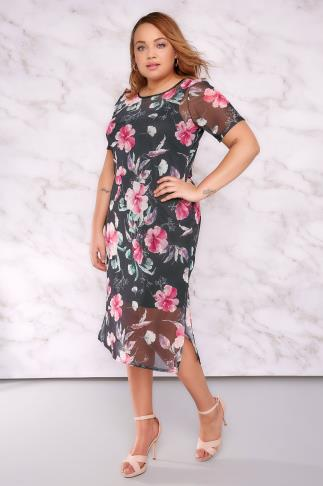 Midi Dresses LIMITED COLLECTION Black & Pink Floral Mesh Midi Dress With Side Splits 210008