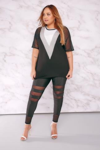 Fashion LIMITED COLLECTION Black Plisse Leggings With Mesh Inserts 210017