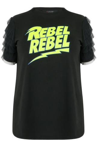 "LIMITED COLLECTION Black ""Rebel Rebel"" Top With Frill Sleeves"