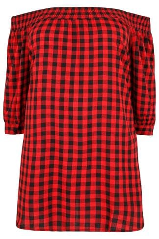 Col bateau LIMITED COLLECTION Black & Red Checked Bardot Top With Tie Sleeves 210202