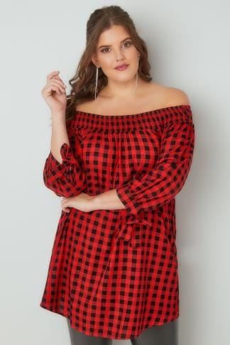 Bardot & Cold Shoulder Tops LIMITED COLLECTION Black & Red Checked Bardot Top With Tie Sleeves 210202