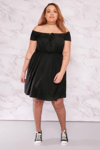 Black Dresses LIMITED COLLECTION Black Ribbed Bardot Dress With Tie Front 210069