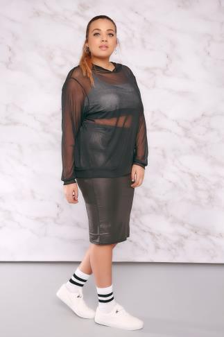 Hoodies & Jackets LIMITED COLLECTION Black Sheer Mesh Hooded Top 210025