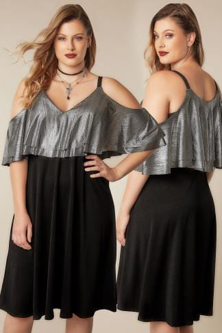 Party Dresses LIMITED COLLECTION Black & Silver Cold Shoulder Dress With Metallic Frill Panel 210287