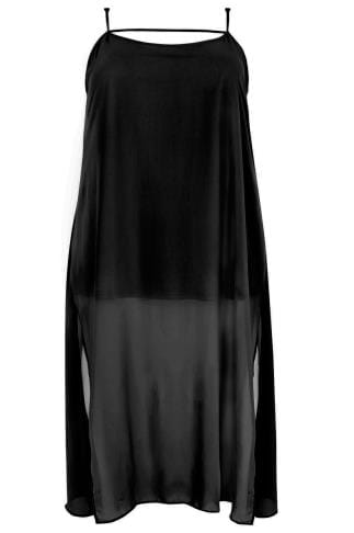 LIMITED COLLECTION Black Strappy Maxi Dress With Side Slits